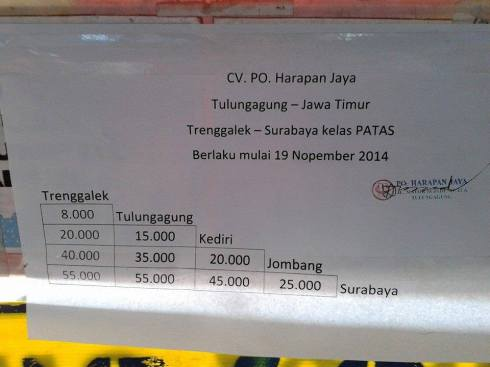 tarif terbaru bis PATAS Harapan Jaya